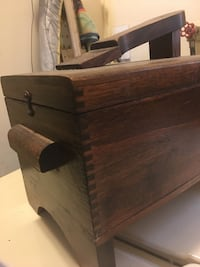 Vintage shoe shine box with accessories
