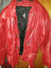 red leather zip-up jacket New York, 10029