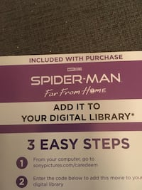 Spider man far from home digi code Burlington, L7L 3W4
