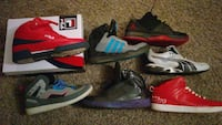 seven assorted paired basketball shoes