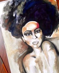 Original black haired woman painting