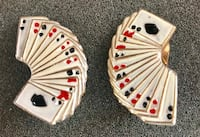 Vintage Playing Card Clip-On Earrings Gold Tone 2253 mi