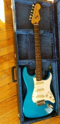 blue and white stratocaster electric guitar Lake Station, 46405