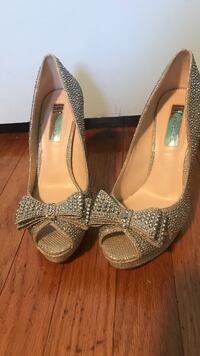 pair of studded gray peep-toe leather heeled shoes