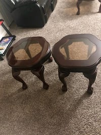 two black wooden framed glass top tables Washington, 20016