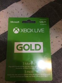 20$ For 3 Months Of Xbox Live gold