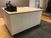 """Large size (5' x 6'-6"""") movable counter with heavy duty wheels, this is like new and strong built with compartments and doors $120 Obo for pickup only located at 260 King st ,Toronto  Toronto, M5A"""