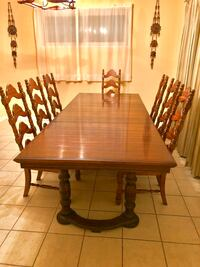 rectangular brown wooden dining table with four chairs set Rockville, 20852