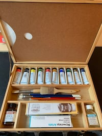 Rowney Artists Oil Color and Brushes Set with Wooden Case Fairfax, 22032