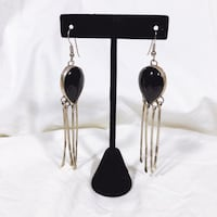 1950s Sterling Silver Black Onyx Dangly Earrings Portland, 97222