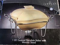 Godinger  1 Quart Covered Porcelain Baker with Warmer Stand Los Angeles, 91335