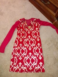 Gold & red dress Size small Mastic Beach