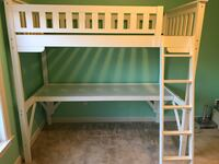 Solid wood white bunk bed with built in desk. Very good condition. Aldie, 20105