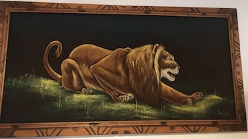 Lion signed painting