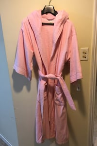Pink terry cloth robe with hood