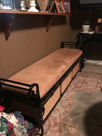 Heavy duty wrought iron and suade bench with storage