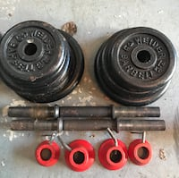 black and red weight plates