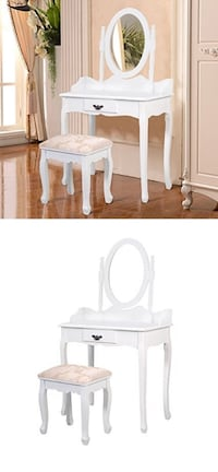New Vanity Makeup Dressing Table with  Mirror and Stool Chair Set  Whittier