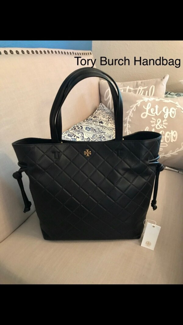 7a801804371 Used Tory Burch Georgia slouchy diamond quilted black leather tote. for sale  in San Jose - letgo