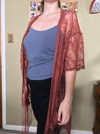 women's red lace open elbow-sleeved cardigan