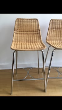 2 Natural Wicker Counter Stools