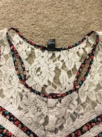 Women's white and black floral crop top Plano, 75093