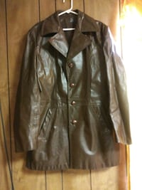 brown leather button up jacket Houston, 77076