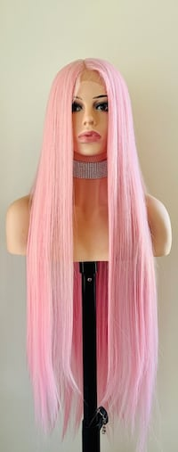 "Very Pretty 36"" Pink Lace Front Wig"
