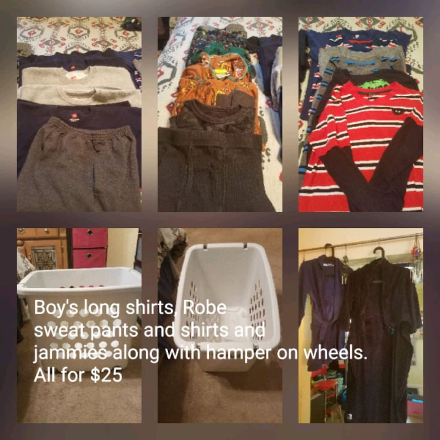 Boys winter clothes along with white hamper