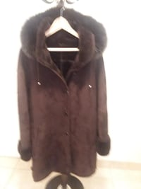 Women's Suede Coat With Detachable Fur Lined Hood - Very Warm For Winter Elmwood Park