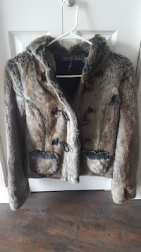 gray and brown faux fur coat Englewood