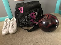 Bowling ball,bag and shoes