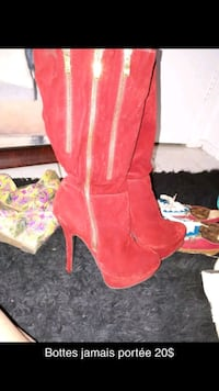 pair of red suede heeled boots Longueuil, J4T 3M5