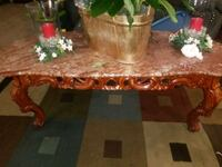 Real solid pink Marble and oak living table and side tables. North Las Vegas, 89031