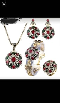 gold and red gemstone pendant necklace and earring Falls Church, 22043