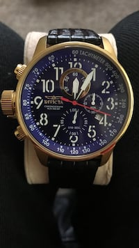 gold round Invicta chronograph watch with black leather strap Naples, 34112