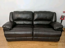 Dark brown extra wide leather theater sofa recliner