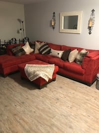 red fabric sectional sofa with throw pillows Tampa, 33609