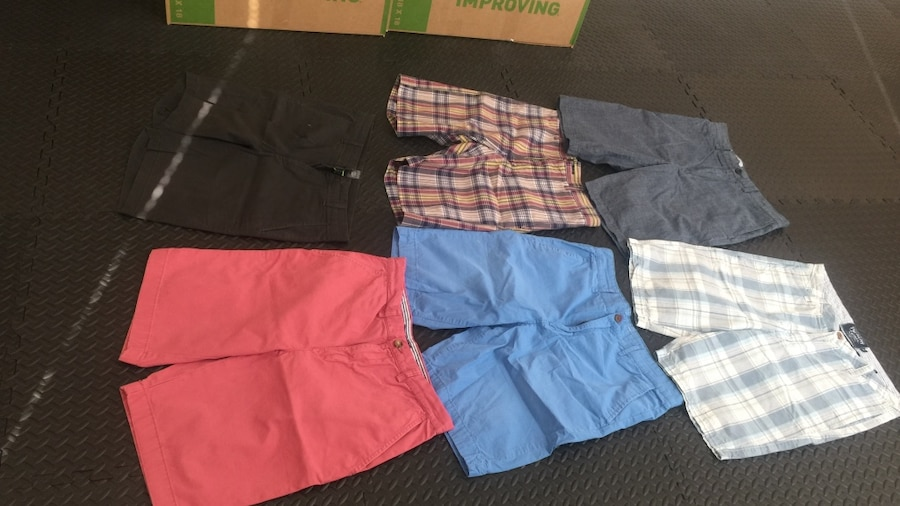 All 6 for $25- all size 34.  Brands are Tommy Hilfiger, Banana Republic,Gap. Six assorted colors shorts