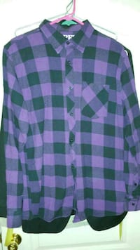 purple, black, and gray plaid button-up collared long sleeve sport shirt Springfield, 22151