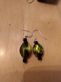 yellow and black drop earrings