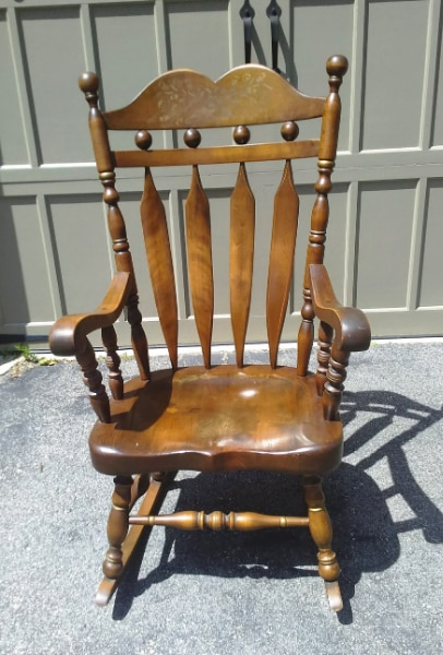 Vintage Ethan Allen Rocking Chair Style Number: 9019 Old Tavern Decorated  Finish Number: 12 Antique Pine Collection Number: 12 Old Tavern Decorative  ...