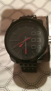 Diesel black linked bracelet black and gray round analog watch Winslow, 08081