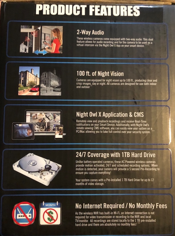 ***BRAND NEW-NEVER USED*** ••••• Night Owl 4 Channel 1080p Wireless Smart  Security Hub with 4 x 1080p Infrared IP Cameras and 1 TB HDD WNVR201-44P