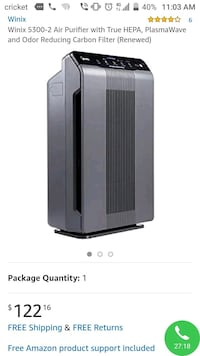 Winix air purifier - with two new filters