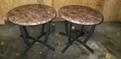 2 Marble like end tables