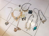 Assorted necklaces and ear rings