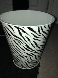 White and black zebra print trash bin Annandale, 22003