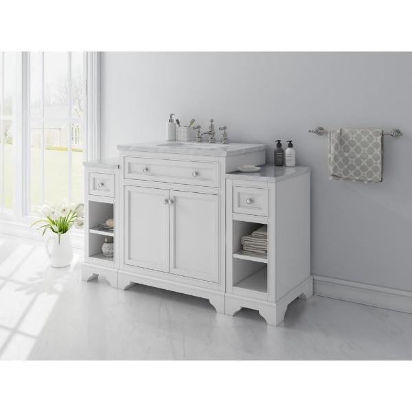 Home Decorators Collection Mornington 30 In W X 21 In D Single Bath Vanity In White With Marble Vanity Top In White With White Basin