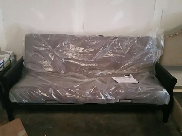 New Wood Armed Futon With 8 Inch Mattress